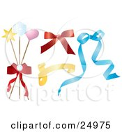 Clipart Illustration Of A Collection Of Red Yellow And Blue Ribbons Bows And Gift Wrapping Sticks by Eugene