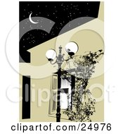 Street Lamp By A Window With Shutters Under A Dark Night Sky With A Crescent Moon And Stars