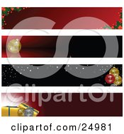 Clipart Illustration Of A Collection Of Four Holly Ornament And Gift Web Design Banners