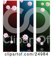 Three Scenes Of Pretty Pink Blossoms Over Red Blue And Green Backgrounds