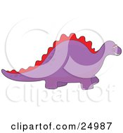 Clipart Illustration Of A Jolly Purple Dinosaur With A Red Spine And Spots Along Its Back Grinning In Delight Over A White Background