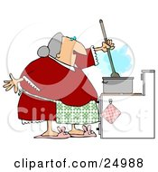 Senior Granny Wearing A Green Apron Over A Red Dress Stirring Food In A Pot While Cooking Dinner