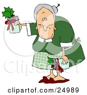 Clipart Illustration Of A Sweet Old Granny Giving Gifts Of Jam Or Jelly For Christmas