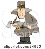 Clipart Illustration Of A Male Pilgrim Man In Brown Carrying An Ax And Searching For A Turkey To Kill For Thanksgiving Dinner