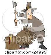 Clipart Illustration Of A Male Pilgrim Holding An Axe Above A Turkey On A Chopping Block Preparing To Kill It For Thanksgiving Dinner by Dennis Cox