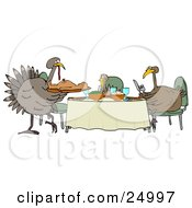 Clipart Illustration Of A Turkey Bird Family Dining On A Man At A Table On Thanksgiving by Dennis Cox