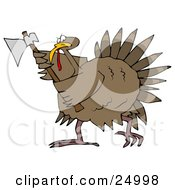 Clipart Illustration Of A Pissed Thanksgiving Turkey Bird Running Around With An Ax Ready To Attack Any People That Want To Eat It by Dennis Cox