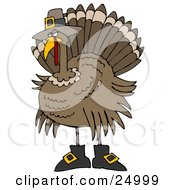 Clipart Illustration Of A Silly Thanksgiving Turkey Bird In Pilgrim Boots And A Hat Hiding From Hunters by Dennis Cox