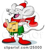 Jolly Mouse In Red And Green Wearing Mittens And A Scarf Singing Christmas Carols On Xmas Eve