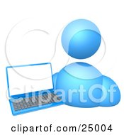 Blue Avatar Person Standing By A Blue Laptop With A Blank Screen Over White