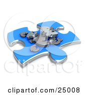 Clipart Illustration Of A Blue Jigsaw Puzzle Piece With Silver Euro Signs Resting On Top Symbolizing Money Concerns
