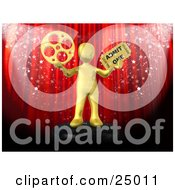 Clipart Illustration Of A Gold Person Holding A Film Reel And A Movie Ticket And Standing In Front Of A Red Theater Curtain With Confetti