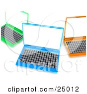 Clipart Illustration Of Green Blue And Orange Laptop Computers With Blank White Screens