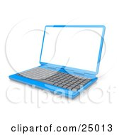 Blue Laptop Computer With A Gray Keyboard And Blank White Screen