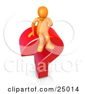 Clipart Illustration Of A Confused Orange Person Rubbing Their Chin And Sitting On Top Of A Giant Red Question Mark