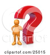 Clipart Illustration Of A Confused Orange Person Rubbing His Chin And Standing Beside A Large Red Question Mark
