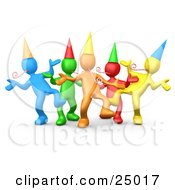 Diverse Group Of Colorful People Wearing Party Hats And Blowing Noise Makers While Dancing At A Birthday Or New Years Eve Party