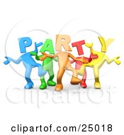 Diverse Group Of Colorful People With Letter Heads Spelling Out Party Dancing