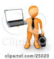 Clipart Illustration Of An Orange Businessman With A Black Tie Holding A Laptop And Carrying A Briefcase by 3poD #COLLC25020-0033