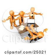 Clipart Illustration Of A Group Of Angry Orange People Employees Complaining To Their Lazy Boss As He Sits At His Desk With His Feet Up And Does Nothing To Help