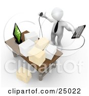 Clipart Illustration Of A Stressed White Employee Staring At Stacks Of Paperwork On A Desk Trying To Figure Out Where They Can Put Their Computer Keyboard