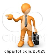 Clipart Illustration Of An Orange Businessman Carrying A Briefcase And Holding His Hand Out As If Presenting A Product by 3poD