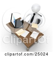 Clipart Illustration Of A White Employee Seated At A Wooden Desk And Using A Laptop While Doing Paperwork At The Office