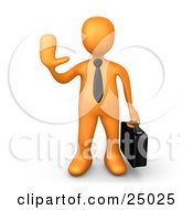 Clipart Illustration Of An Orange Businessman Carrying A Briefcase And Gesturing With His Hand To Stop