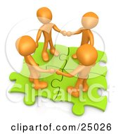Clipart Illustration Of Four Orange People Holding Hands While Standing On Connected Green Puzzle Pieces Symbolizing Teamwork And Interlinking For Seo Website Marketing by 3poD