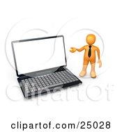 Orange Businessman With A Black Tie Gesturing Towards A Large Black Laptop Computer With A Blank Screen