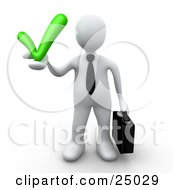 Clipart Illustration Of A White Business Person In A Tie Carrying A Briefcase And Holding A Grey Check Mark Symbolizing Approval And Solutions