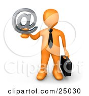 Orange Businessman Carrying A Briefcase And Holding Up A Silver Email At Symbol by 3poD