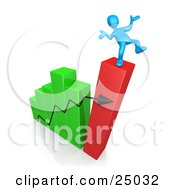 Blue Person Slipping And About To Fall While Standing On Top Of A Bar Graph Chart That Is Collapsing Symbolizing Bankruptcy And Failure