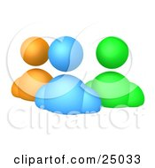 Clipart Illustration Of Orange Blue And Green Diverse Avatar People Standing Side By Side
