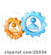 Clipart Illustration Of Orange And Blue People Inside Gears Working Together To Solve A Problem