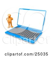 Confused Orange Person Standing Beside A Blue Laptop Computer With A Blank White Screen
