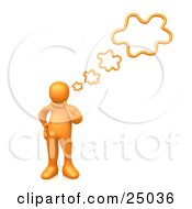 Clipart Illustration Of An Orange Person Rubbing His Chin While Thinking Creative Thoughts With Four Bubbles