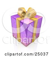 Clipart Illustration Of A Birthday Anniversary Or Christmas Gift Box Wrapped In Purple Paper With A Yellow Bow And Ribbon by 3poD