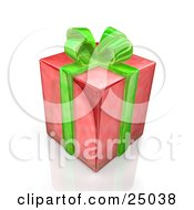 Birthday Anniversary Or Christmas Gift Box Wrapped In Red Paper With A Green Bow And Ribbon