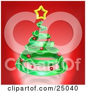 Clipart Illustration Of A Green Spiraling Christmas Tree Decorated With Garland And Red Ornaments And Topped With A Star Over Red by 3poD