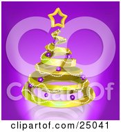 Clipart Illustration Of A Golden Spiraling Christmas Tree Decorated With Garland And Purple Ornaments And Topped With A Star Over Purple