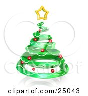 Green Spiral Christmas Tree Decorated With Garland And Red Ornaments And Topped With A Star Over White