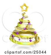 Clipart Illustration Of A Gold Spiral Christmas Tree Decorated With Garland And Purple Ornaments And Topped With A Star Over White by 3poD
