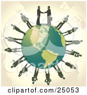 Clipart Illustration Of Two Professional Businessmen Shaking Hands On Top Of A Green Globe Other Business People Circling The Planet by Tonis Pan