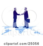 Clipart Illustration Of Two Professional Businessmen Shaking Hands And Standing On Top Of A Blue Map