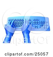 Clipart Illustration Of Blue Grid Virtual Hands Typing On A Blue Desktop Computer Keyboard Over A White Background by Tonis Pan