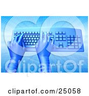 Blue Virtual Grid Hands Typing On A Blue Computer Keyboard Over A Background With A Grid And Wave Pattern