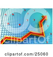 Clipart Illustration Of A Red And Orange Arrow Pointing Upwards On A Gradient Grid Chart