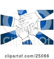 Clipart Illustration Of A Team Of Business Partners With Blue Sleeves Stacking Their Hands In A Pile Over A White Background by Tonis Pan