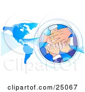 Clipart Illustration Of A Teamwork Pile Of Hands Stacked In A Circle Surrounded By Binary Coding With Waves Over A Blue Map by Tonis Pan